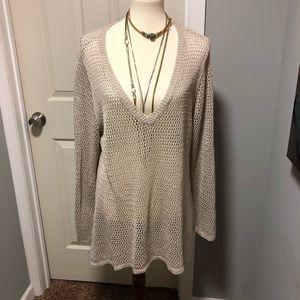 Curio mesh fabric long sweater/ dress